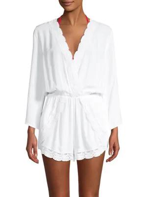 La Blanca Scalloped Lace Romper Coverup In White