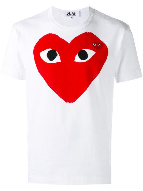 Comme Des Garçons Play Heart Print Short Sleeve T-shirt In White