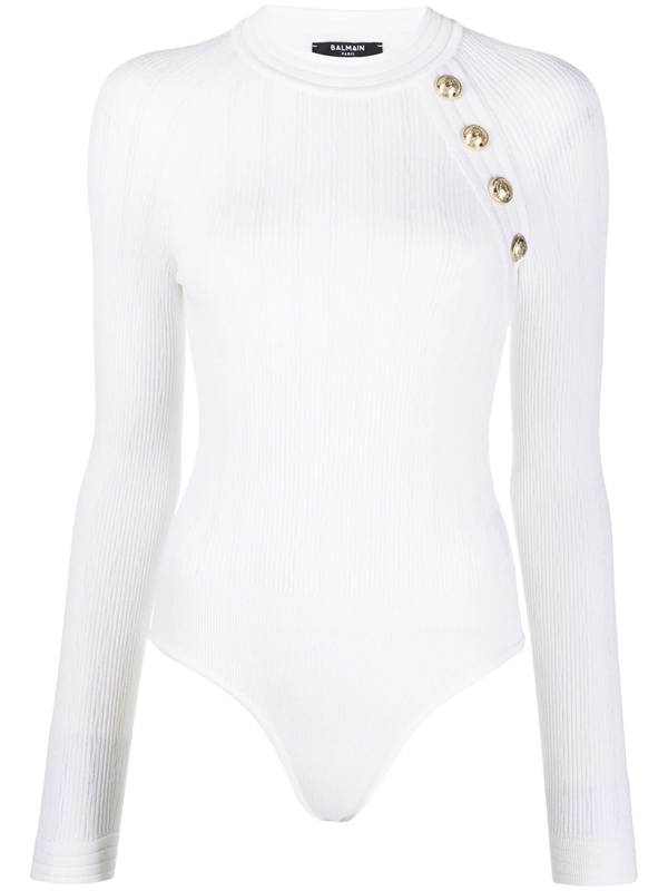 Balmain Button-embellished Knitted Bodysuit In White