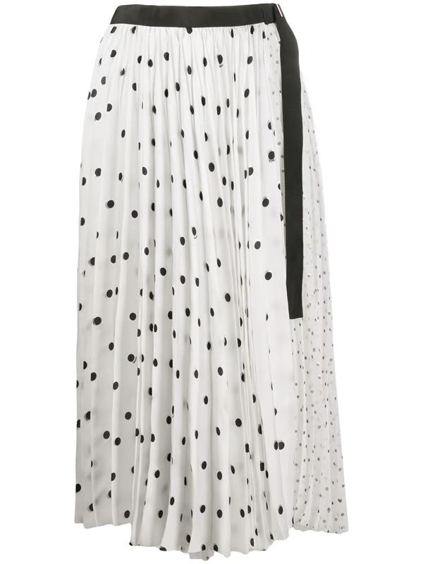 Sacai Pleated Polka Dot Print Skirt In White