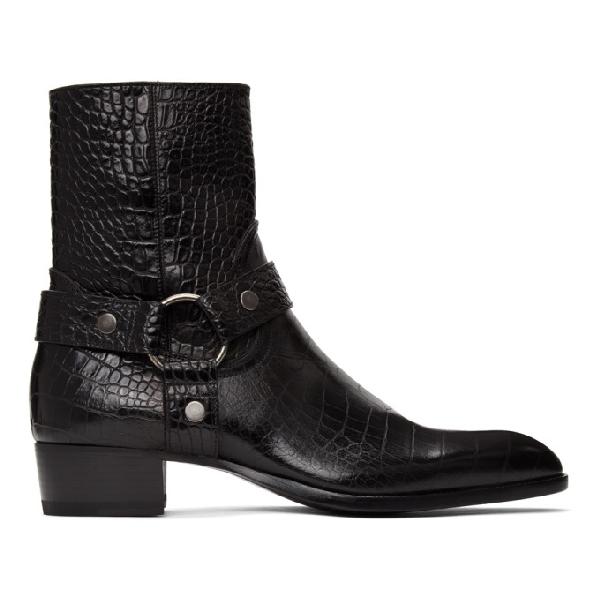 Saint Laurent Wyatt Harness Crocodile-effect Leather Boots In 1000 Nero