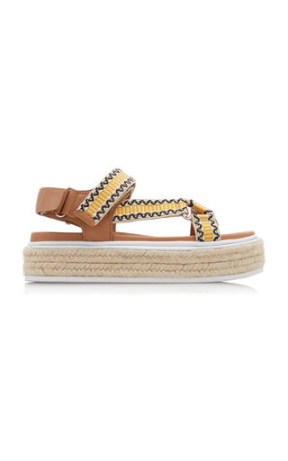 Prada Nomad Embroidered Canvas And Leather Espadrille Sandals In Tan