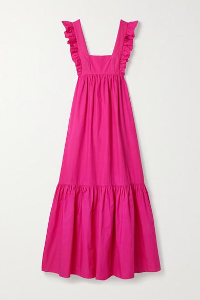 Self-portrait Open-back Ruffled Cotton-poplin Maxi Dress In Fuchsia