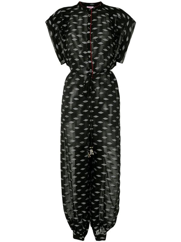 Eres Folk Belted Silk-blend Chiffon-jacquard Jumpsuit In Black