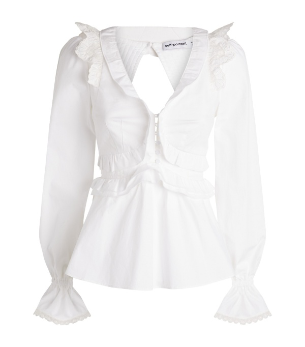 Self-portrait Ruffled V-neck Tie-back Cotton Blouse In White