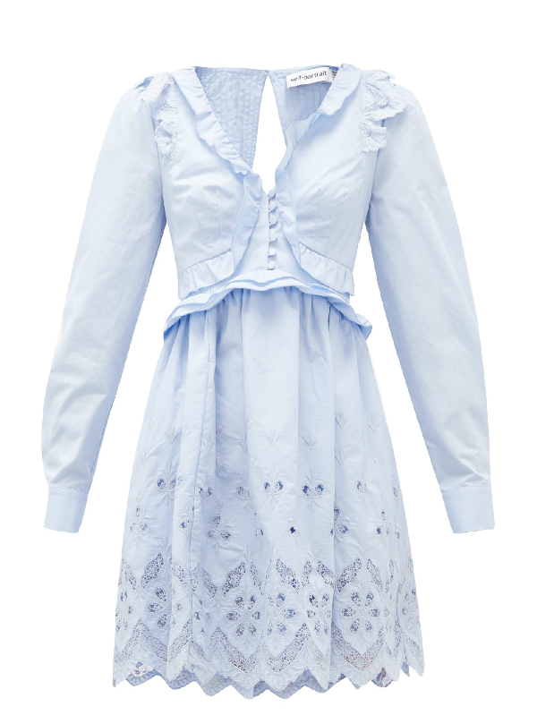 Self-portrait Ruffled V-neck Broderie-anglaise Cotton Mini Dress In Light Blue
