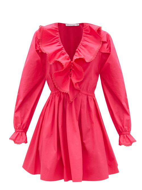 Self-portrait Ruffled V-neck Cotton Mini Dress In Fuchsia Pink