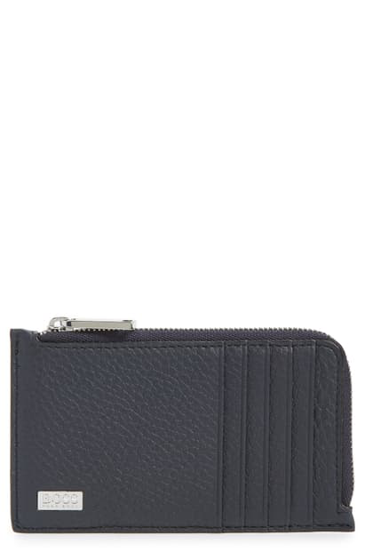 Hugo Boss Crosstown Pebbled Leather Card Case In Navy