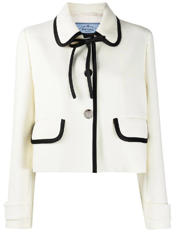 Prada Tie-neck Wool Cropped Jacket In Ivory
