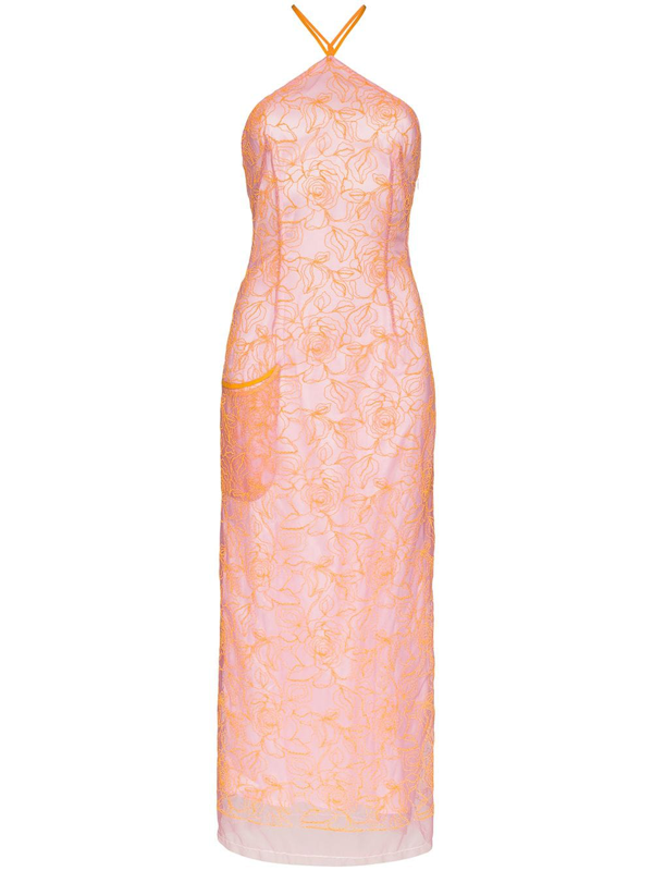 Jacquemus La Robe Lavandou Embroidered Tulle Dress In Pink