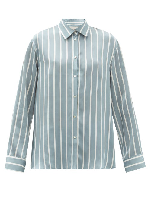 Asceno London Striped Sandwashed-silk Pyjama Top In Blue Stripe