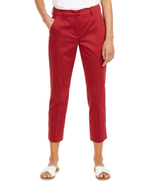 Weekend Max Mara Novak Cotton Gabardine Trousers In Bordeaux