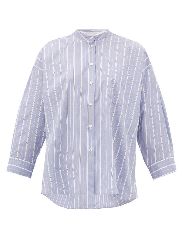 Weekend Max Mara Cotton Poplin Shirt In Blue White