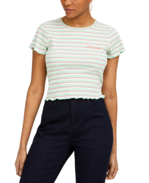 Dickies Junior's Striped Cotton Baby T-shirt In Neo Mint