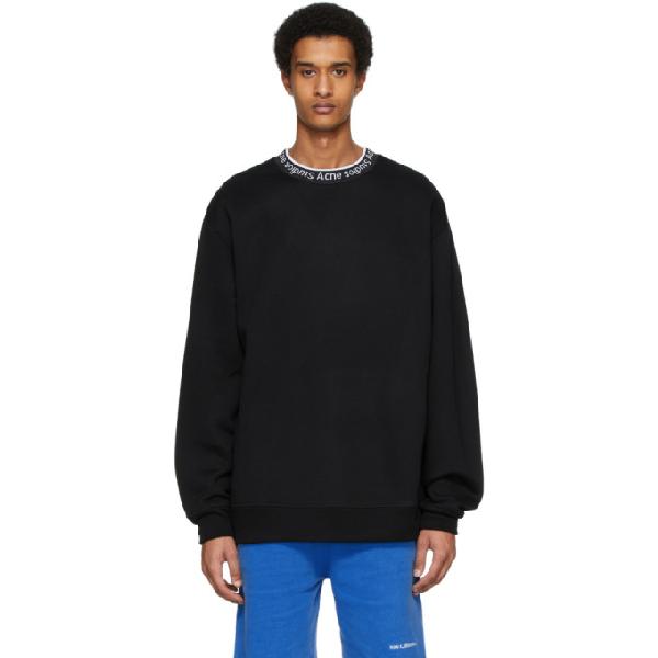 Acne Studios Logo-jacquard Fleece-back Jersey Sweatshirt In Black