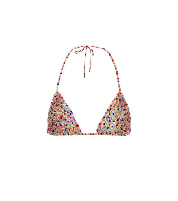 Alanui Beaded Bikini Top In Multicoloured