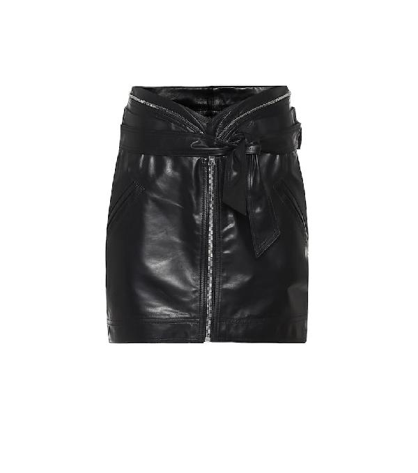 Rta Suri Leather Miniskirt In Black