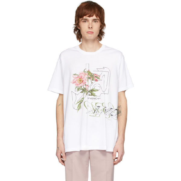 Givenchy Floral-print Cotton-jersey T-shirt In 100-white