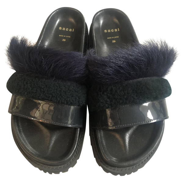 Pre-owned Sacai Navy Leather Sandals