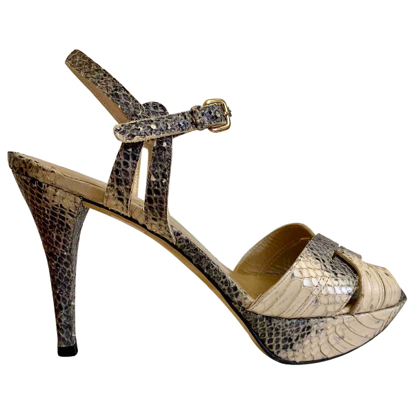 Stuart Weitzman Ecru Python Sandals