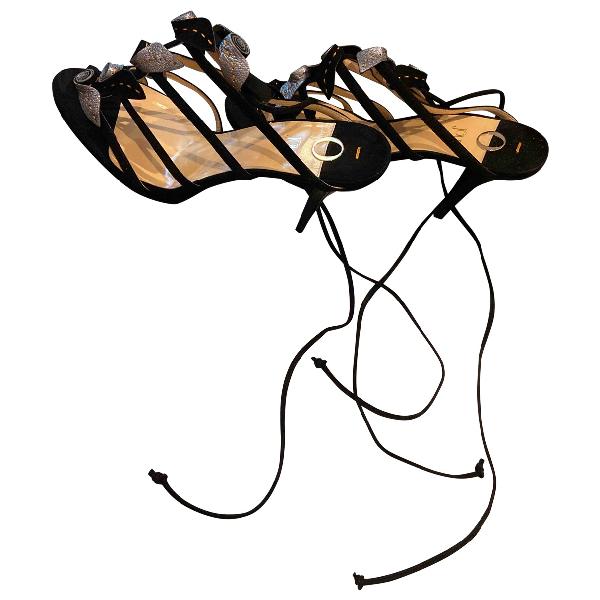 O Jour Black Suede Sandals