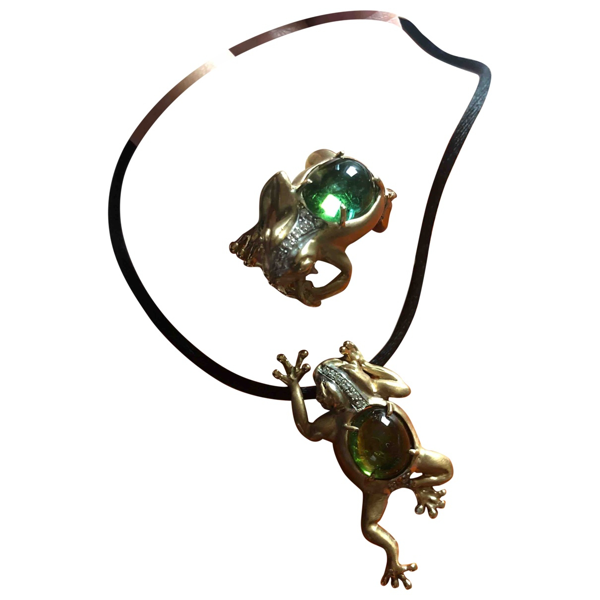 Pre-owned Bernard Delettrez Green Yellow Gold Jewellery Set