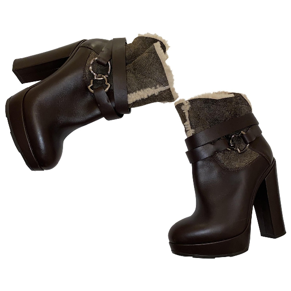 Moncler Brown Leather Ankle Boots
