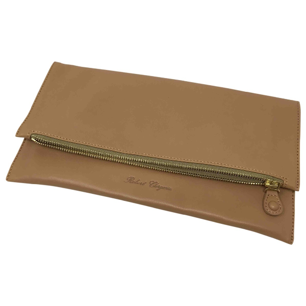Robert Clergerie Camel Leather Clutch Bag