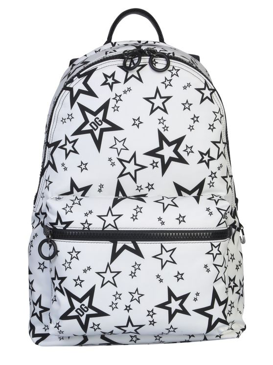 Dolce & Gabbana Mixed Star Print Vulcano Backpack In Nylon In White