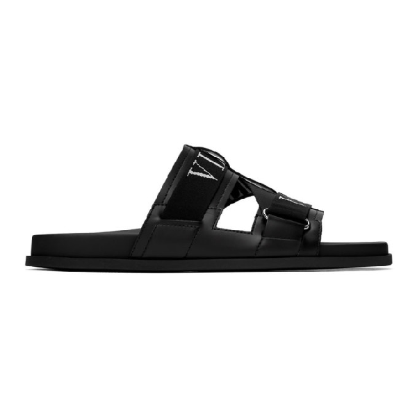 Valentino Garavani Garavani Vltn Black Canvas And Leather Sandals In 0no Nero