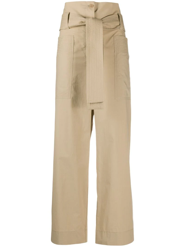 P.a.r.o.s.h. Belted Waist Trousers In Neutrals