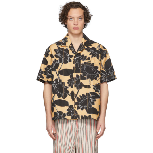 Jacquemus Jean Camp-collar Printed Linen And Cotton-blend Shirt In Yellow Flow