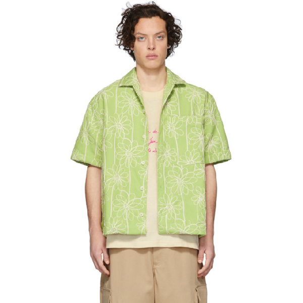 Jacquemus Jean Camp-collar Embroidered Twill Shirt In Green Flowe