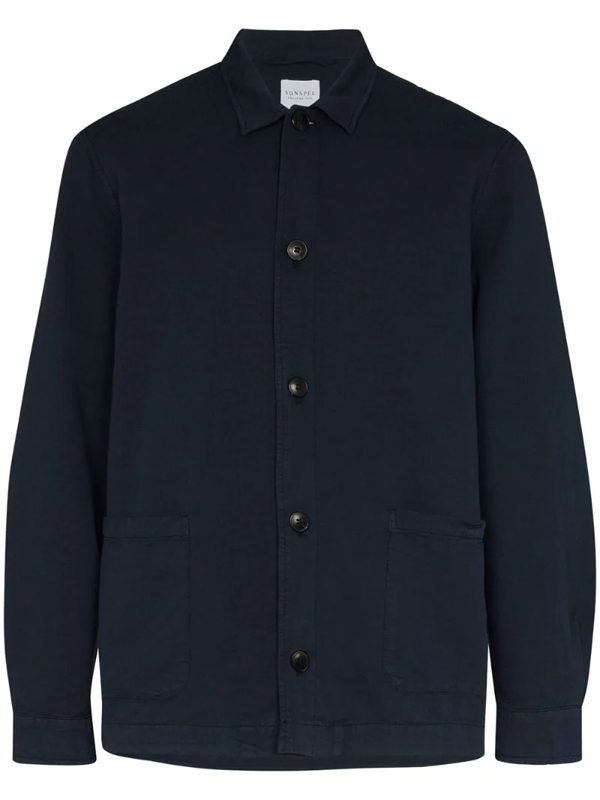 Sunspel Patch-pocket Shirt Jacket In Blue