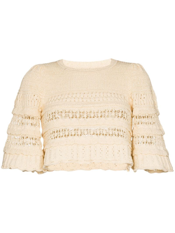 Isabel Marant Crochet-knit Cropped Jumper In Neutrals