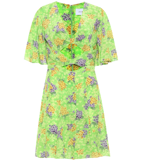 Les Rêveries Les Reveries Green Floral Silk Knot Dress In Green Hyaci