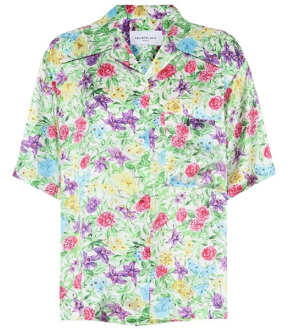 Les Rêveries Les Reveries Multicolor Silk Garden Camp Shirt In Rose Orchid