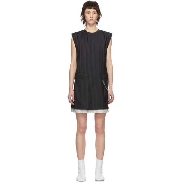 Acne Studios Pinstripe Pattern Dress In Navy Blue And White