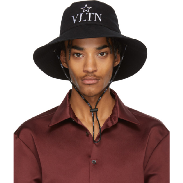 Valentino Garavani Vltn Star-embroidered Cotton Bucket Hat In 0ni Nero/bi