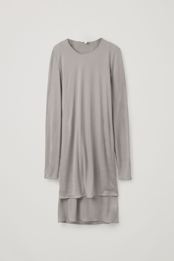 Cos Double Layer Long-sleeved Dress In Grey