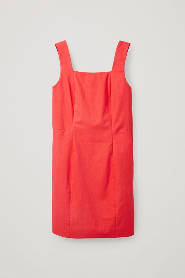 Cos Slim-fit Cotton-linen Dress In Red