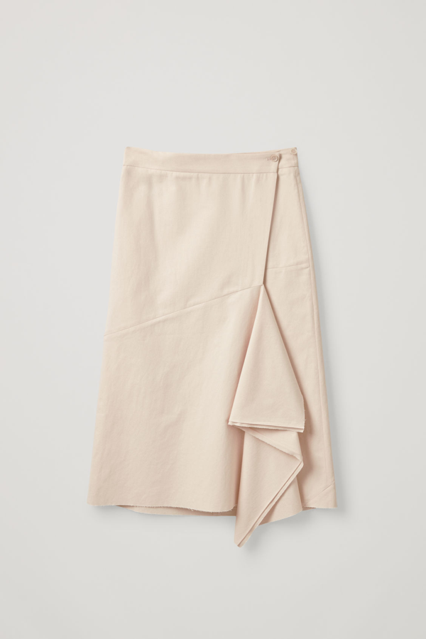 Cos Cotton-linen Wrap Skirt With Asymmetric Drape In White