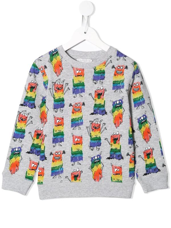 Stella Mccartney Kids' Rainbow Monsters Tracksuit In Grey
