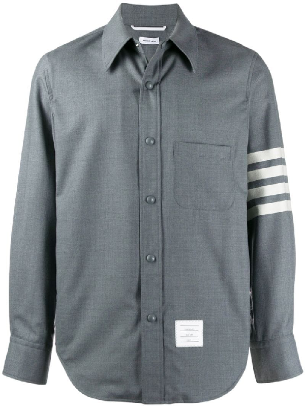 Thom Browne Snap Front Shirt Jacket In Grey