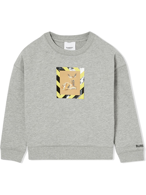 Burberry Kids' Deer-print Crew Neck Sweatshirt In Grey