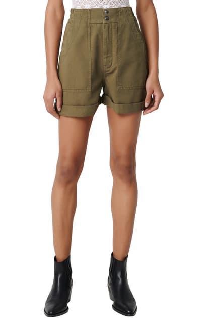 Maje Idole Mini Utility-inspired Shorts In Khaki Green