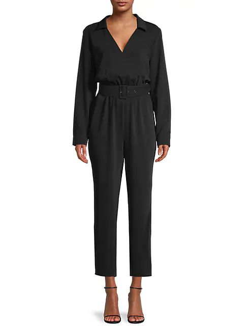 Cupcakes And Cashmere Cascade Belted Jumpsuit In Black