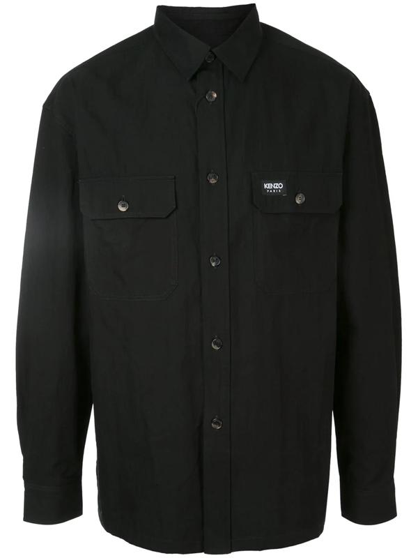 Kenzo Logo Patch Detail Shirt In Black