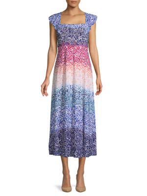 Julia Jordan Printed Tie-back Midi Dress In Blue Multi