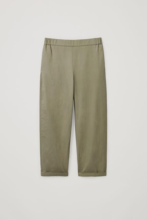 Cos Cropped Cotton Poplin Trousers In Khaki Green